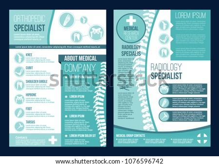 Orthopedics health center or radiology orthopedic research company brochure templates. Vector flat design of body joints and spine bones for orthopedic diagnostics or corrective therapy hospital