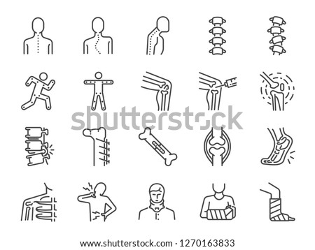 Orthopedics line icon set. Included the icons as osteoarthritis, medical rehab, plantar fasciitis, back injuries, Fracture and more.