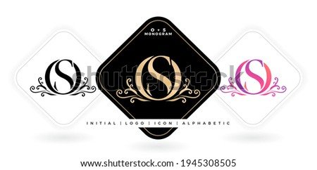 OS initial letter and graphic name, OS Monogram, for Wedding couple logo monogram, logo company and icon business, with three colors variation designs with isolated white backgrounds Zdjęcia stock ©