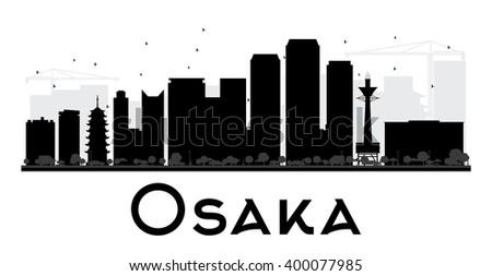 osaka city skyline black and