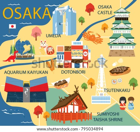 osaka map with colorful
