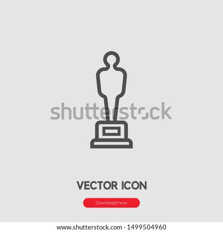 Oscar statue icon vector. Linear style sign for mobile concept and web design. Hollywood trophy symbol illustration. Pixel vector graphics - Vector.