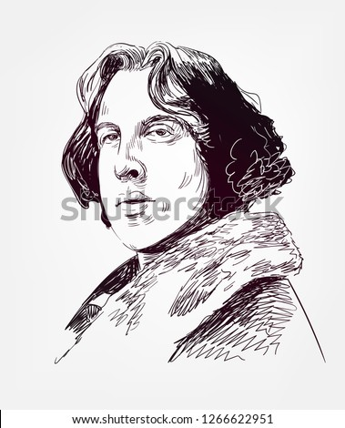 Oscar Wilde famous vector sketch portrait
