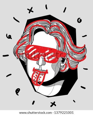 Oscar Wilde. Vector illustration hand drawn. Crazy portrait.