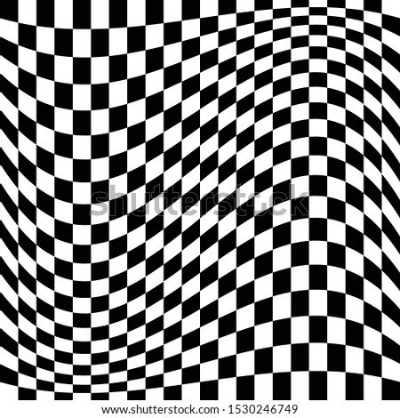 Oscillation, ripple, squeeze warp. Curve, camber element. Wavy, waving distortion on checkered, chequered, chess board pattern. Billowy, undulating deformation on squares, chess background Foto d'archivio ©