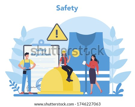 OSHA concept. Occupational safety and health administration. Government public service protecting worker from health and safety hazards on the job. Isolated flat vector illustration
