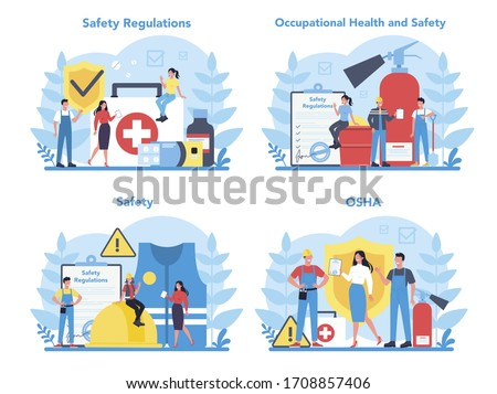 OSHA concept set. Occupational safety and health administration. Government public service protecting worker from health and safety hazards on the job. Isolated flat vector illustration Foto stock ©