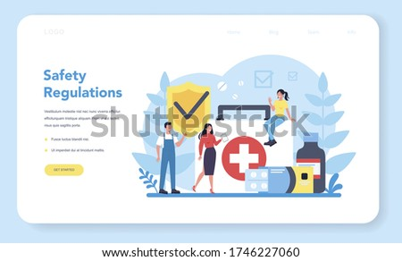 OSHA concept web banner or landing page. Occupational safety and health administration. Government public service protecting worker from health and safety hazards on the job. Vector illustration