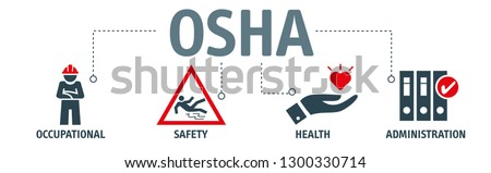OSHA - Occupational Safety and Health Administration - Vector Illustration concept banner with icons and keywords
