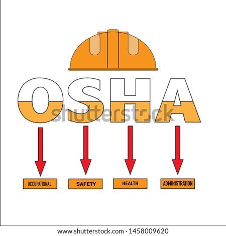 OSHA - Occupational Safety and Health Administration - Vector illustration concept banner with safety helmet icon.