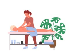 Osteopath massage treatment therapy, chiropractor work, therapist doctor massaging spine