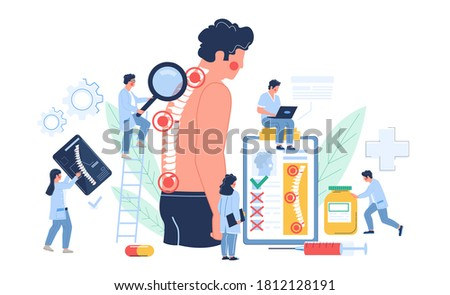 Osteopathy session and treatment. Man suffering from spine pain visiting osteopath, flat vector illustration. Tiny doctor characters examining patient vertebra. Osteopathic physician consultation. Foto stock ©