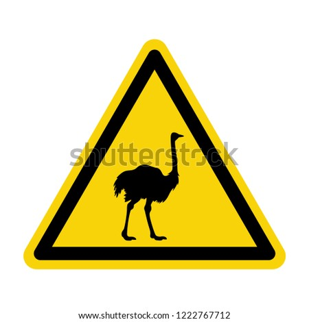 Ostrich warning sign. Symbol, vector, illustration