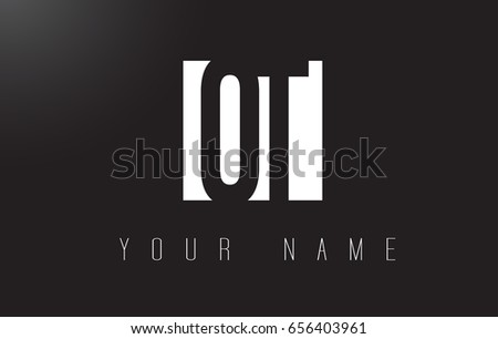 OT Letter Logo With Black and White Letters Negative Space Design.