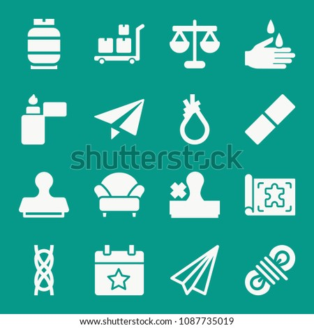 Shutterstock puzzlepix other related set of 16 icons such as stamp paper plane paper plane armchair scales strolley with packages washing hand blueprint rope tool knot malvernweather Choice Image