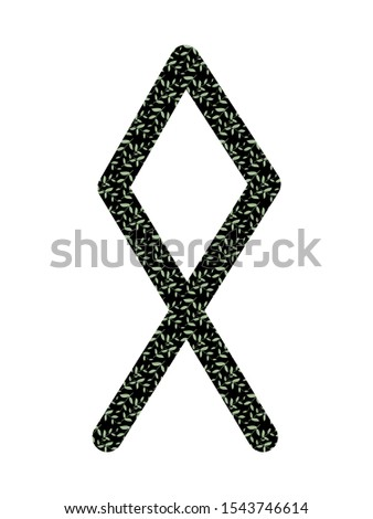 Othila. Ancient Scandinavian runes Futhark. Used in magical scripts, amulets, fortune telling. Scandinavian and Germanic writing. White background