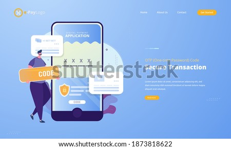 OTP or one-time password for secure transaction on digital payment transaction illustration concept
