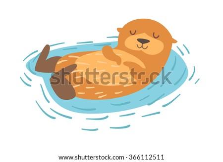 Otter. Flat cartoon vector illustration, isolate on white  background