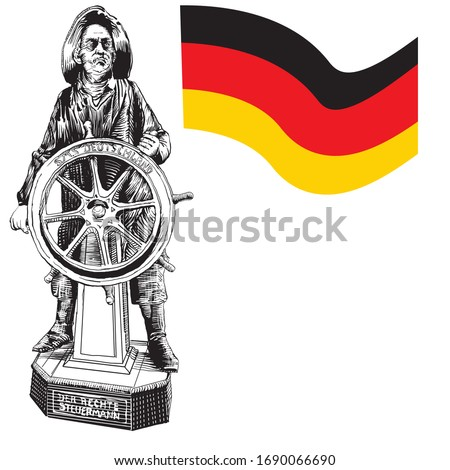 Otto Von Bismarck, Chancellor of the German Empire at the controls of a ship named Germany. The plate below translates as