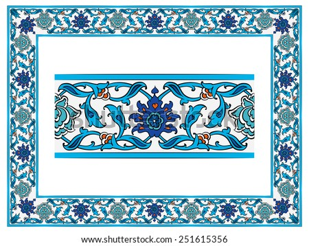Islamic border with blue background vector download free vector ottoman islamic ceramic floral vector border frame tile altavistaventures Images