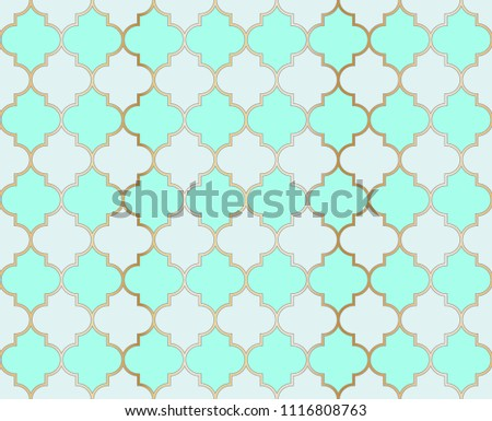 Ottoman Mosque Vector Seamless Pattern. Ramadan mubarak muslim background.  Traditional ramadan kareem mosque pattern with gold grid mosaic.  Islamic textile grid design of lantern shapes tiles.