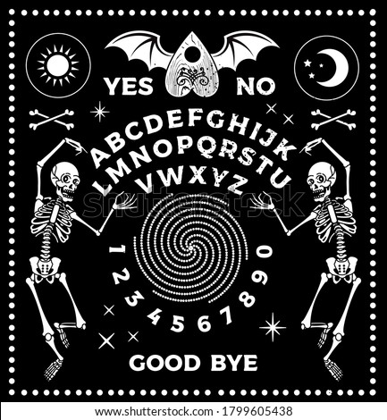 Ouija Board. Occultism Set. Vector Illustration. ストックフォト ©