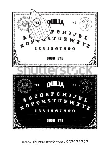 Ouija boards, black and white, isolated vector graphic illustration art
