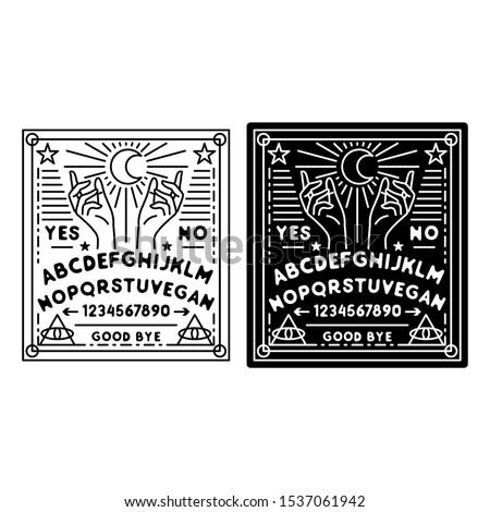 ouija monoline badge design, with black and white color
