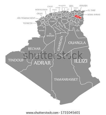 Oum el Bouaghi red highlighted in map of Algeria Stock photo ©