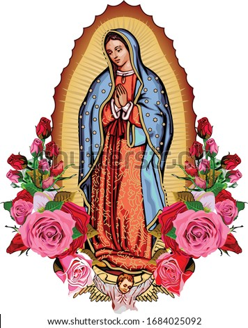 Our Lady Guadalupe with poster roses Сток-фото ©