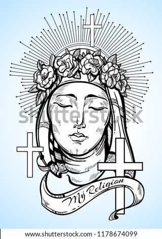 Our Lady of Sorrows. Symbol of Christianity and outstanding faith. Religious vector illustration great for print, posters and tattoo design.