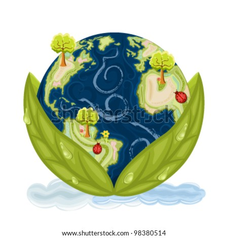 Our planet Earth inside green leaves with drops of water. Preservation of Nature. Vector file saved as EPS AI8, no effects, all elements layered, easy edit and print.