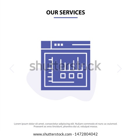 Our Services Browser, Internet, Web, Static Solid Glyph Icon Web card Template