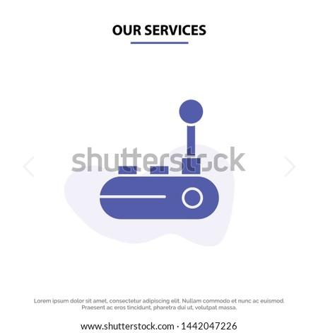 Our Services Controller, Joy Pad, Joy Stick, Joy pad Solid Glyph Icon Web card Template