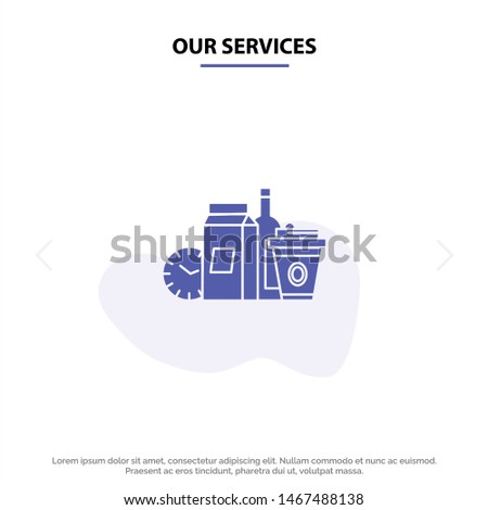 Our Services Food, Items, Milk, Items, Coffee Solid Glyph Icon Web card Template. Vector Icon Template background