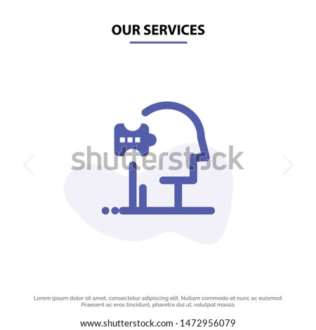 Our Services Psychiatry, Psychology, Solution, Solutions Solid Glyph Icon Web card Template