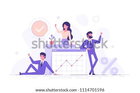 Our team. A group of smiling people making a welcome gesture on. Startup. Colleagues and friends. Flat vector illustration.