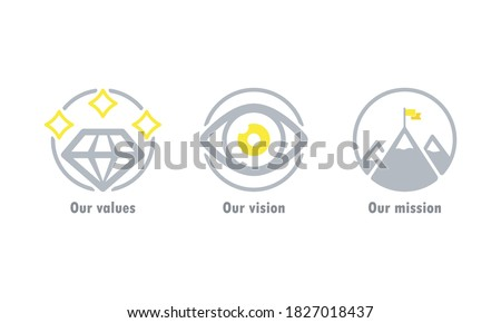 Our values, vision and mission icon. Business goal concept. Vector EPS 10. Isolated on white background Foto stock ©
