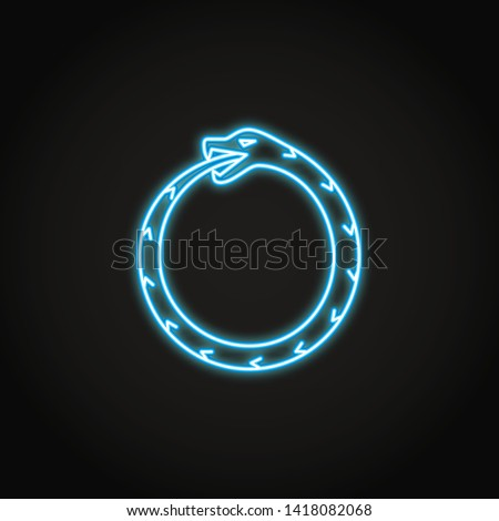 Ouroboros icon in glowing neon style. Ancient symbol of infinity. Snake eating his own tail. Vector illustration.