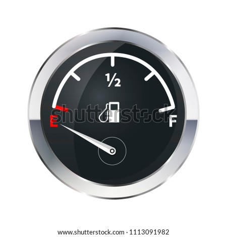 Out of fuel, glossy metallic indicator isolated on white