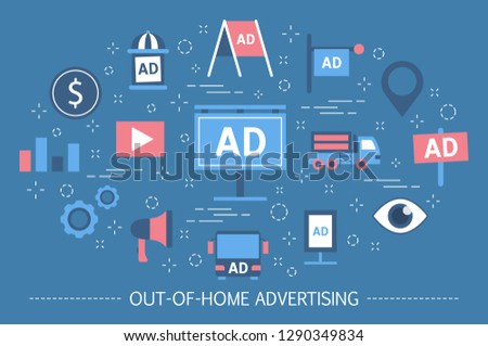 Out-of-home advertising concept. Billboard banner and street poster, promotion outdoor. Marketing strategy. OOH advertisement. Set of colorful icons. Isolated flat vector illustration
