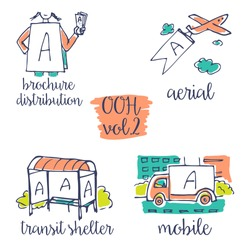 Out-of-home sketchy icon set vol.2. Advertising medium symbols in urban environment.  Use it for web site, brandbook, printing ads to present service of advertising agency to clients