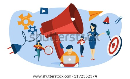 Outbound marketing concept. Online advertising and business promotion. Communication with customer and attraction. People with giant megaphone. Flat vector illustration