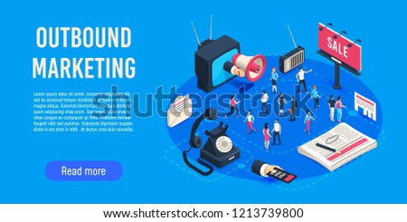 Outbound marketing isometric. Business market sales optimisation, corporate crm and social media ads communication or inbound marketing permission. Digital advertising online campaigns vector concept