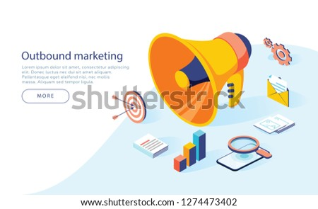 Outbound marketing vector business illustration in isometric design. Offline or interruption marketing background. Megaphone with business icons, can use for landing page, template, ui web, mobile app