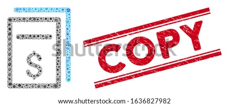Outbreak mosaic price copy icon and red Copy seal between double parallel lines. Mosaic vector is designed with price copy icon and with randomized bacillus symbols. Copy stamp seal uses red color,
