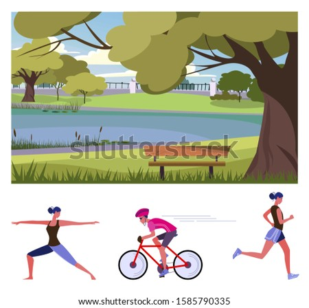 Outdoor activities flat vector illustration set. People riding bike, doing yoga, jogging in city park. Active lifestyle concept