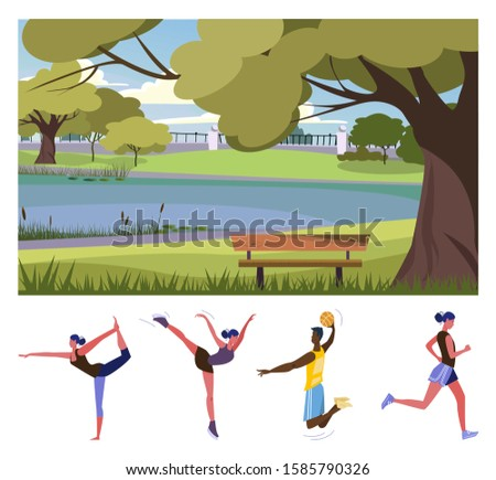 Outdoor activities in park flat vector illustration set. People doing yoga, skating on ice, playing basketball, jogging. Active lifestyle, sport, hobby concept