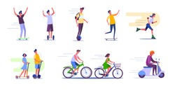 Outdoor activities set. People cycling, skateboarding, roller skating. People concept. Vector illustration for topics like activity, leisure, movement, active lifestyle