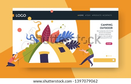 Outdoor activity camping outdoor landing web page template vector tent and camper hiking nature and leisure pastime Internet site sport or recreation mountain or forest walking online tour order.